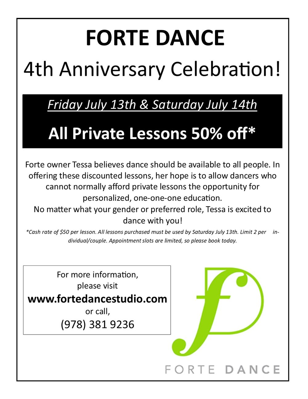4th Anniversary 50 percent off lessons.jpg