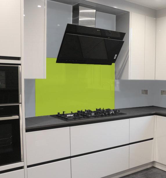 lime green colour kitchen splashback sun studio london
