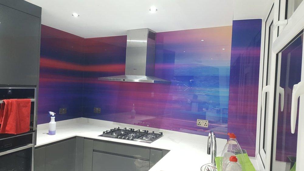 custom modern design printed glass splashback made of toughened glass any type any size any design - Glass Kitchen