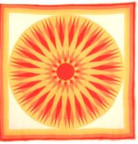 "Unknown maker, Sunburst Quilt, 1930-1955 Cotton 83.5""x 82"" Purchased with funds donated by Pat Hunter & Elena Benton SJMQT Collection 2000.273"