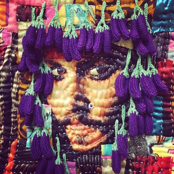 Yes, this is a Fibershot of Captain Jack Sparrow (with a wig of tiny crocheted eggplants!). A Fibershot from 2016 by  Margaret Fabrizio .