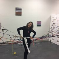 Cristina as an installation during a First Friday Art Walk in the SJMQT Maker Space