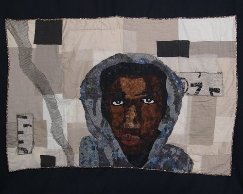 Rest in Power, Trayvon, 2012 photo credit: Sara Trail  Batik, silk, cotton, lace, organza  Quilted and appliquéd