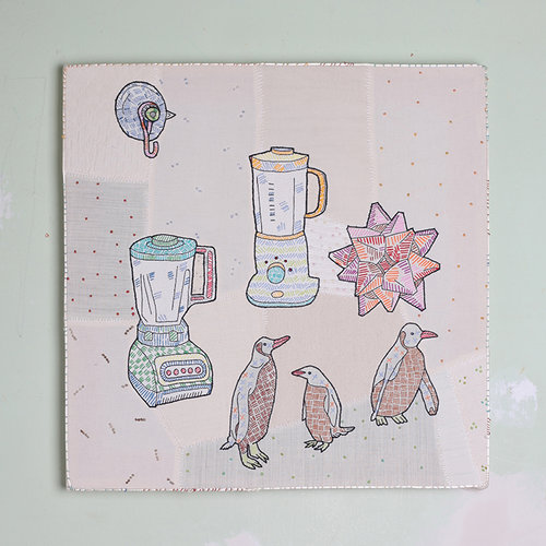 Chuck Stolarek  Blenders over Penguins with Suction Cup  Embroidery with Cotton Thread