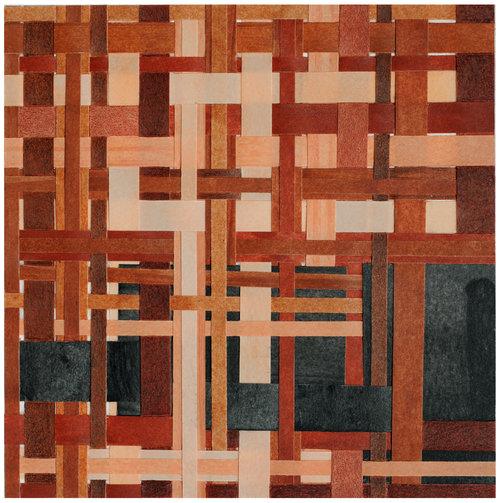 Pilar Agüero-Esparza  Skin Tone 5  Mahogany, tan, peach, apricot, sepia, burnt sienna, 2017 crayon, color pencil, paper Weaving and collage on mixed media board