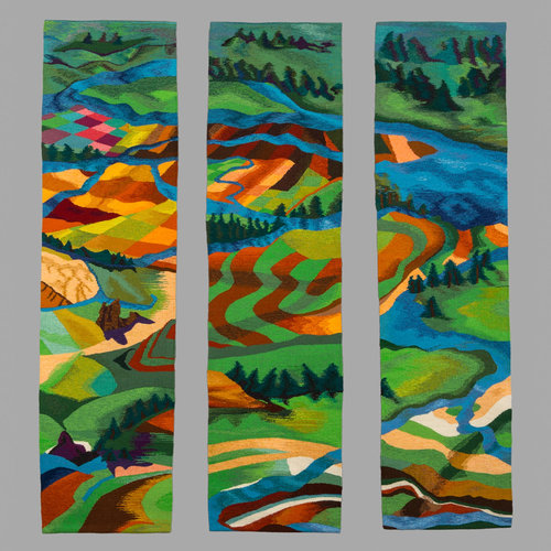 "Jan Moore.  River, Take Me Along , 2014. Tapestry. Wool, 66"" x 54"""