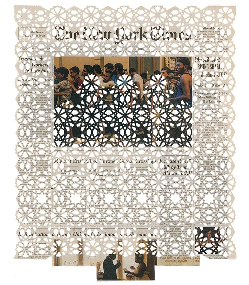 Donna Ruff  9.1.15,  2016  Newsprint Hand-Cut paper