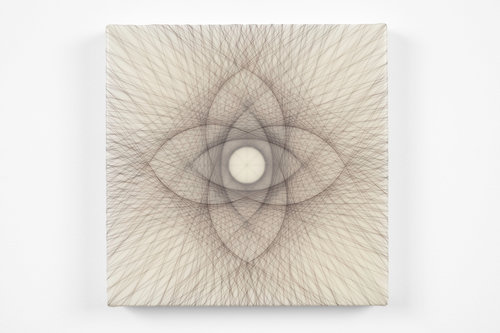 Empty Void 22,  2018 Artist's hair, Acrylic medium on panel