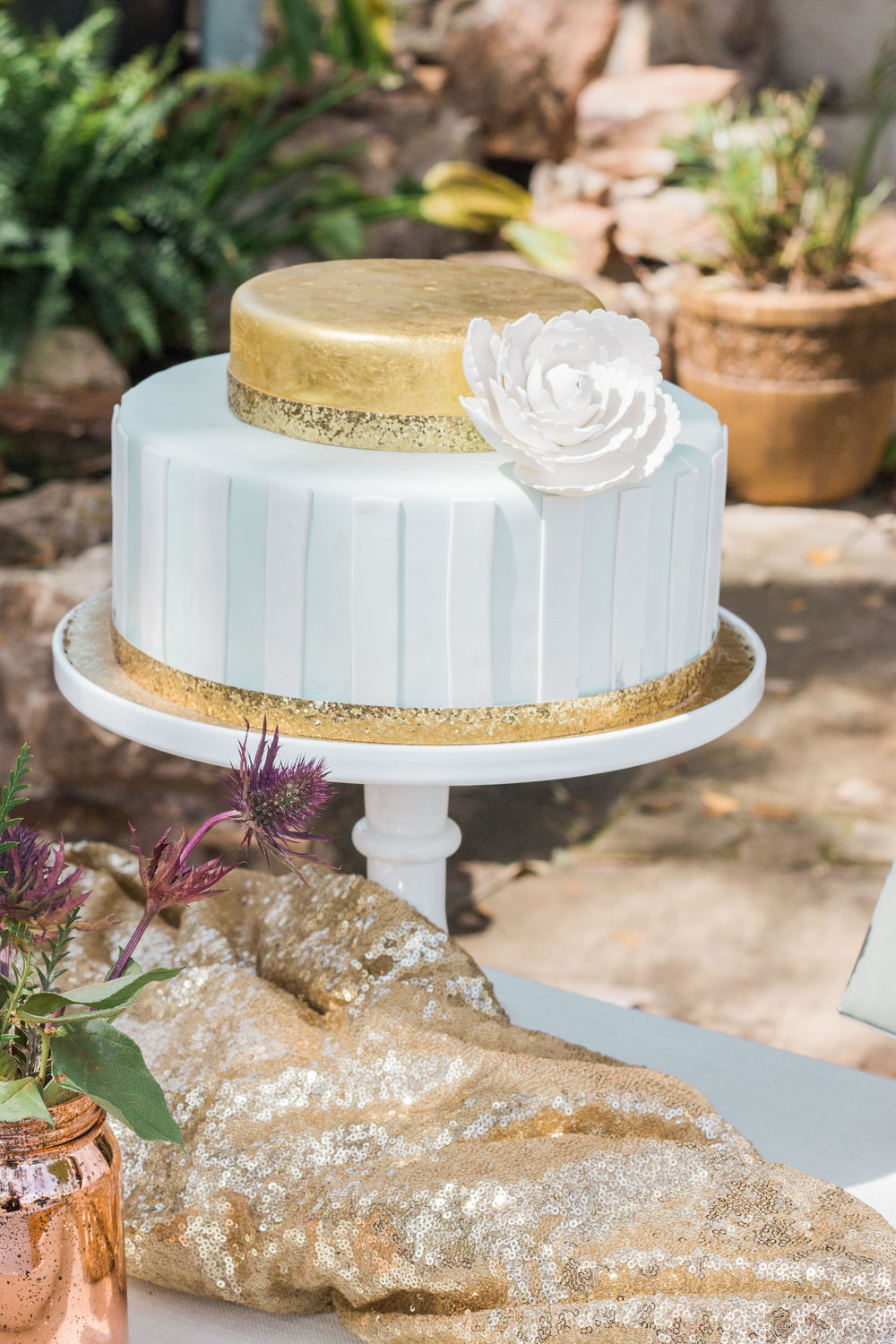 Highland Avenue Events Wedding Cake Gold Foil
