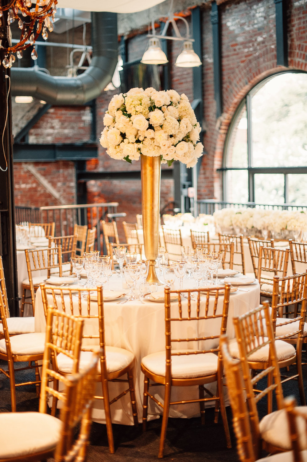 Elevated Centerpieces Ivory and Gold Wedding