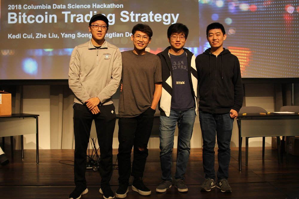 Data Never Sleeps - 1st PlaceTeam Members: Kedi Cui, Zhe Liu, Yang Song, Xiangtian DengConstructed a bitcoin trading algorithm by using an ensemble of machine learning algorithms - XGBoost, ARIMA, LSTM, and NLP - to predict market price.