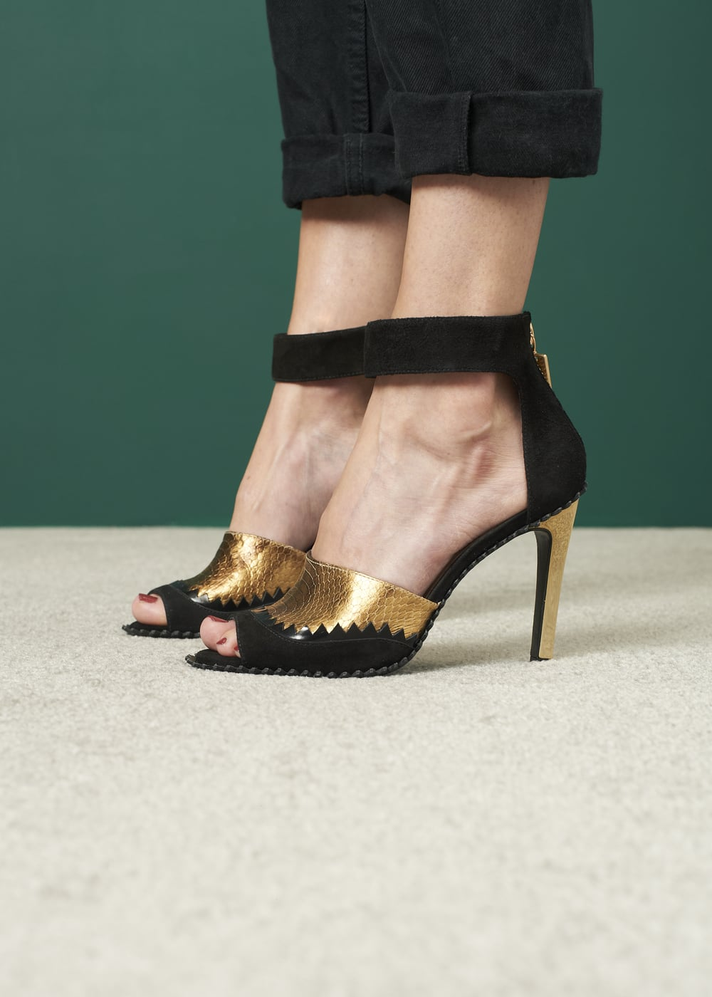 KAT MACONIE  - FERN HEELS in BLACK & GOLD
