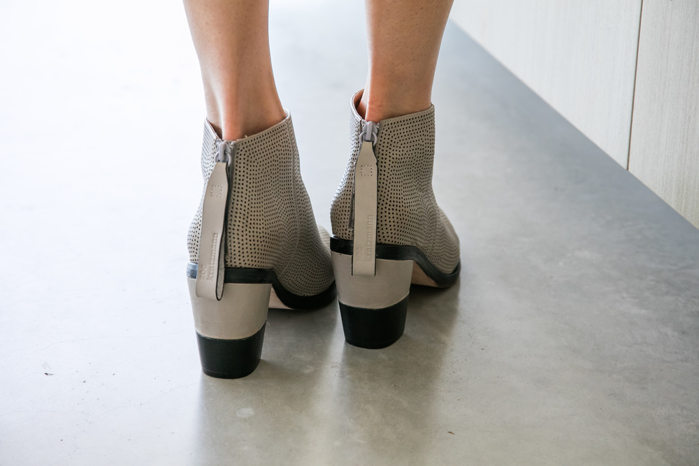 Instinct ankle boot in grey perforated leather and a two tone heel.