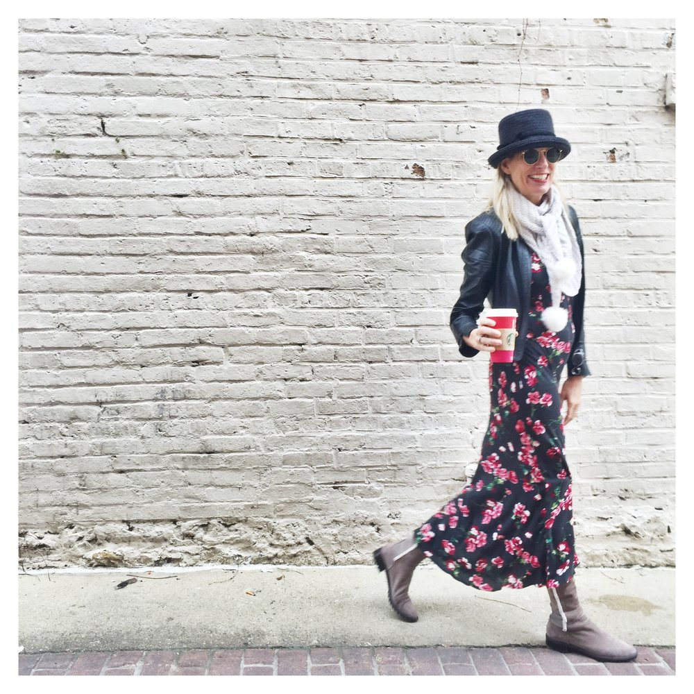 I've taken a floral sundress added a leather jacket, a scarf and a hat,with boot. Any dress can transcend season, it's up to you to SEE!