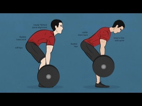 Good deadlift on the right, not so good on the left. Notice the nice, neutral spine on the right.