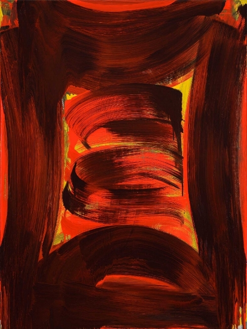 Anne Russinof,  Red Devil , oil on canvas, 2015, 40 x 30 in.