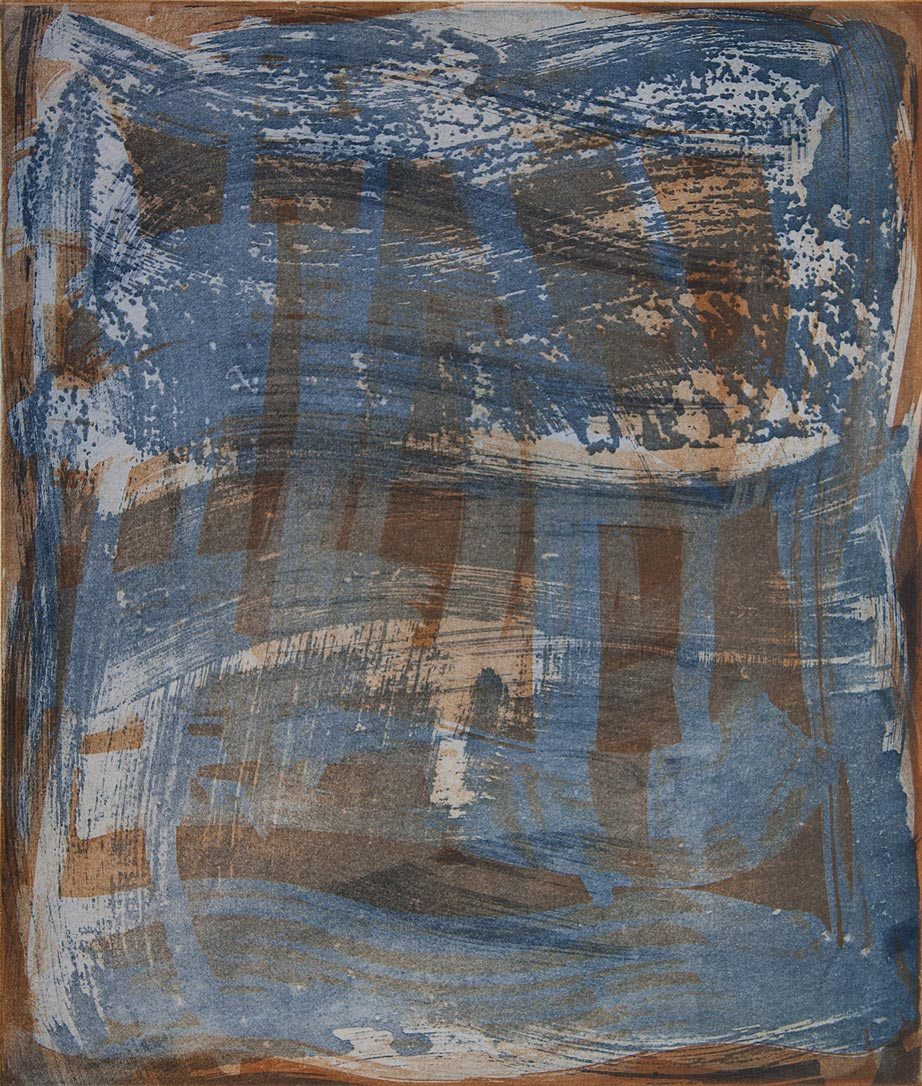 Serpentine 1 , 2018 Etching monotype  image/plate size 14 x 12 in. Sheet size 24 x 22 in.