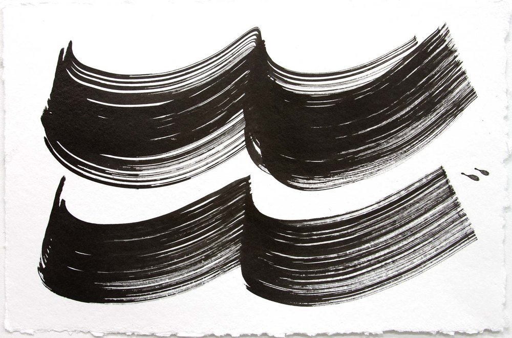 Wavelength 4 , 2018, Sumi Ink on rag paper, 12 x 18 in.
