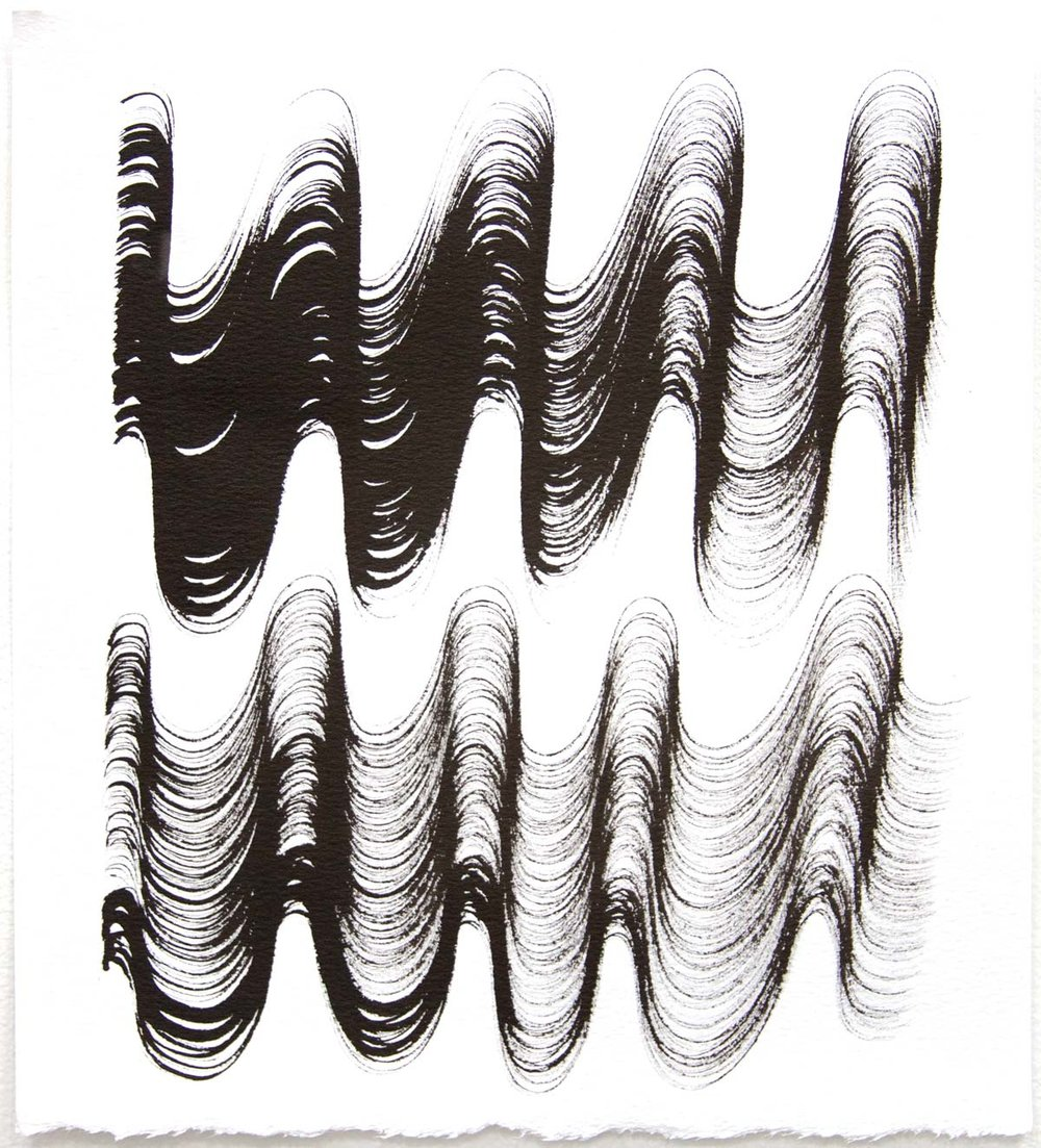 Waves 22,  2018, Sumi Ink on rag paper, 10 x 9 in.