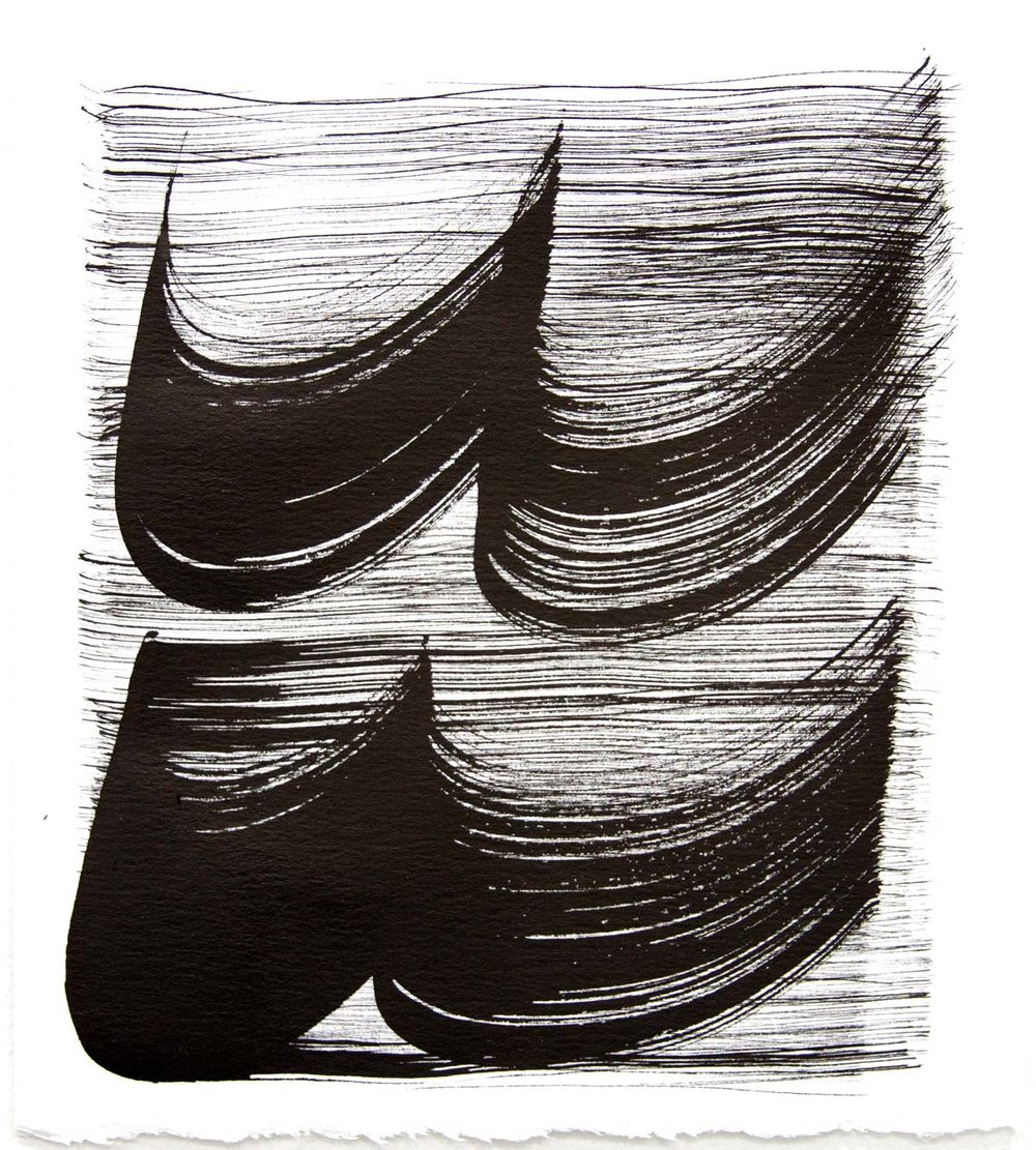Waves 28,  2018, Sumi Ink on rag paper, 10 x 9 in.