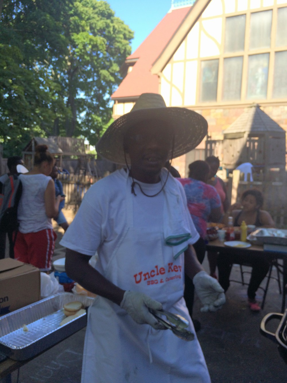 Kevin, a dad a St. Mary's, volunteered his outdoor catering company to grill for the BBQ.