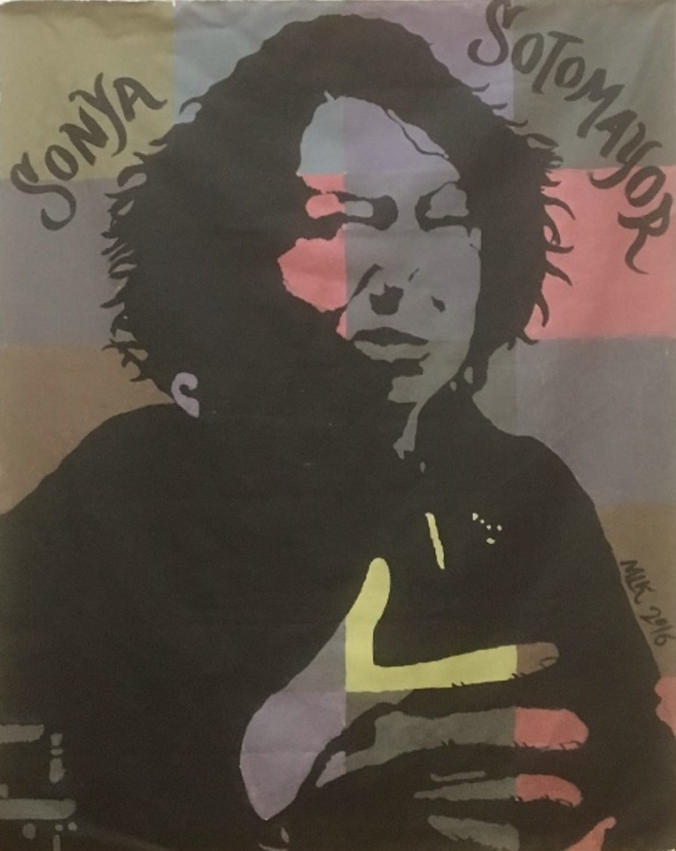 A mural of Justice Sotomayor hangs in the Blackstone School