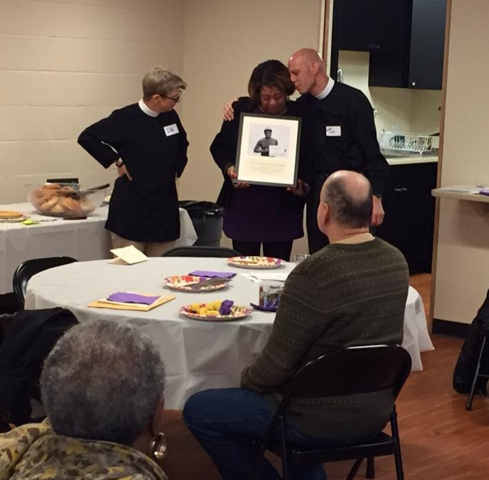 Rev. Liz Steinhaser, MirnaLuz Ramos, mother of Jorge Fuentes, and Rev. Tim Crellin as we dedicate the kitchen.