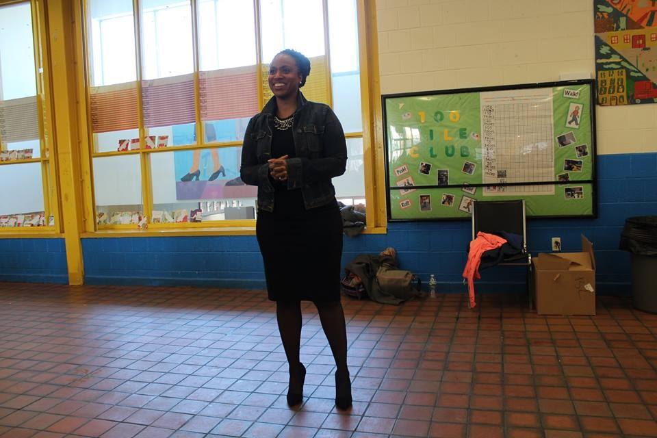 City Councilor Ayanna Pressley gave inspiring remarks