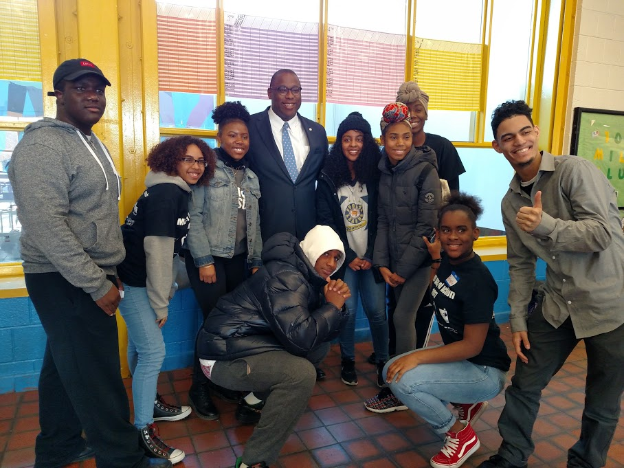 City Councilor Tito Jackson spent time with teen organizers after they ran the Sanctuary Workshop