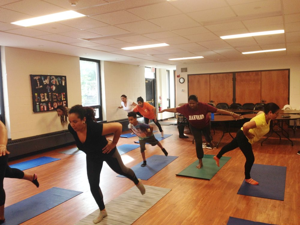 Parents relax with Yoga classes.