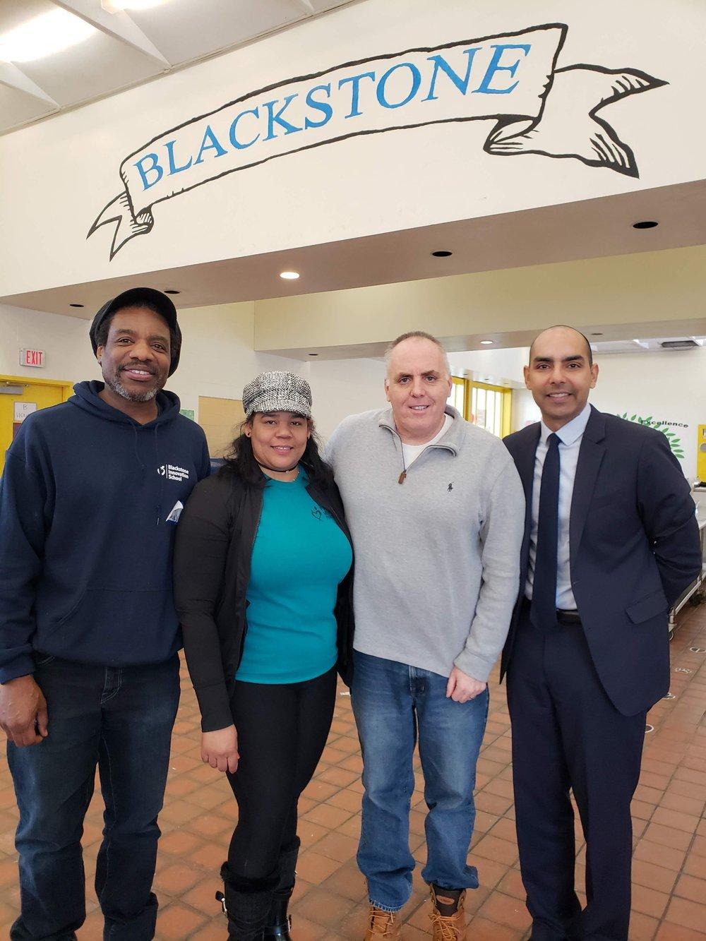 (L-R) Blackstone Principal Jamel Adkins-Sharif, SSYP Parent Organizer Rafaela Polanco, City Councilor Ed Flynn, State Rep. Jon Santiago