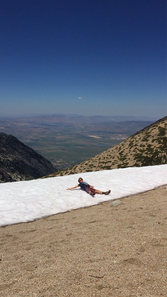 Snow angels to cool off!