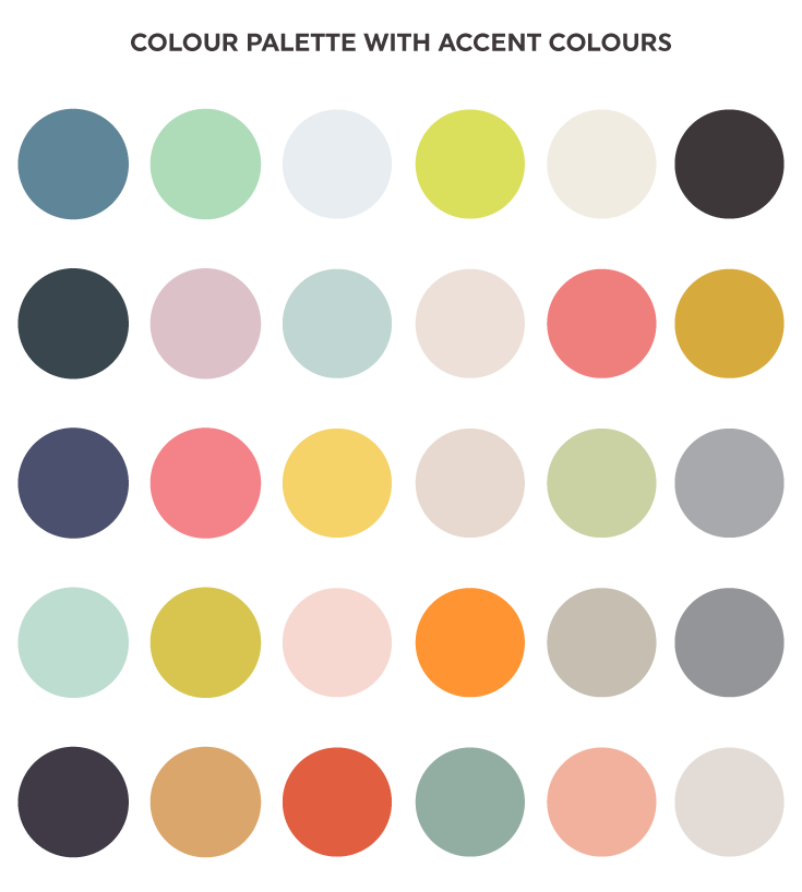 Examples of colour palettes with accent colours.