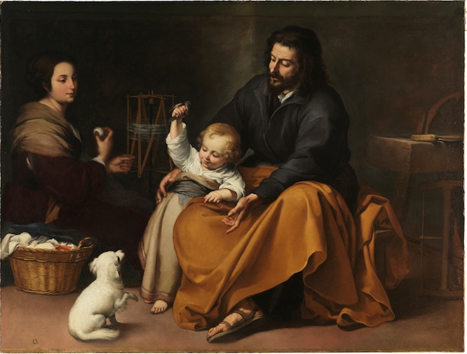 The Holy Family with a Bird by Bartolomé Esteban Murillo, 1650 [Museo del Prado, Madrid]