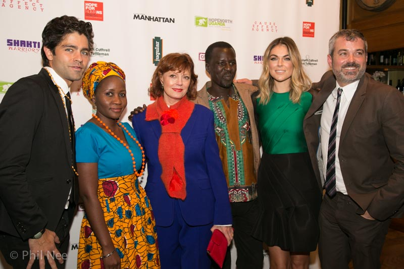 Adrian Grenier, Beatrice Biira, Susan Sarandon, Okello Sam, Serinda Swan and Chris Talbott photo credit: Phil Nee