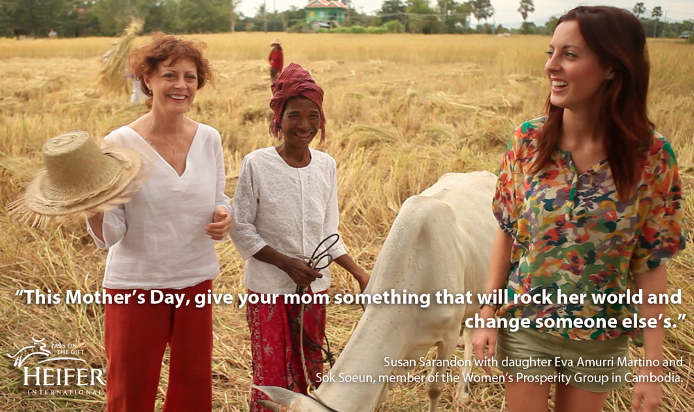 Susan Sarandon, Eve Amurri-Martino, and Heifer participant Sok Soeun © Cause Effect Agency