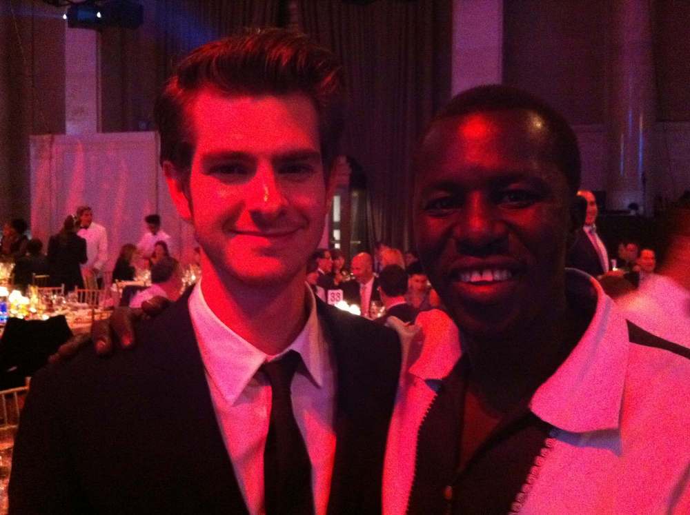 Andrew Garfield and Okello Sam at the WWO Gala 2011