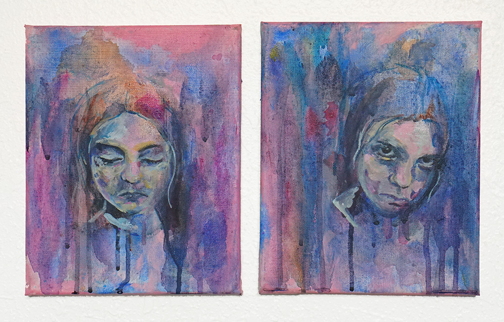 A Private Possession - Acrylic and ink on canvas, 7in x 5in each