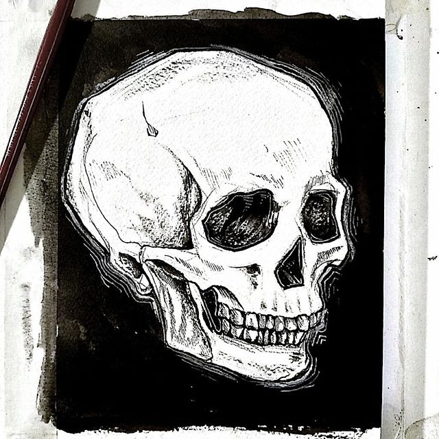 Quick skull study to let y'all know I'm not dead (ironically). 💀 Feeling very fulfilled at my current job and also working on becoming a full-fledged human person, so thank you for your patience ❤ . #ink #illustration #painting #sketch #sketchbook #drawing #skull #penandink #blackandwhite #grunge #art #artist #hashtags #never #stop #feeling #silly