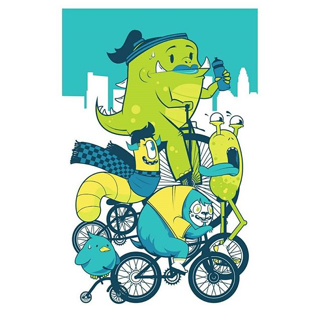Very honored to be a part of @pinchflatohio this year! Special thanks to perfect human @leahstorrs for helping print this 6-colored beast. Check out the real thing, Leah's piece, and a bunch of other rad artists @paradisegarage through May! (Prints available to buy so go #supportlocalartists) 🚲 . #illustration #screenprinting #localartist #monsters #art #bicycle #columbusart #vector #adobeillustrator #cityscape