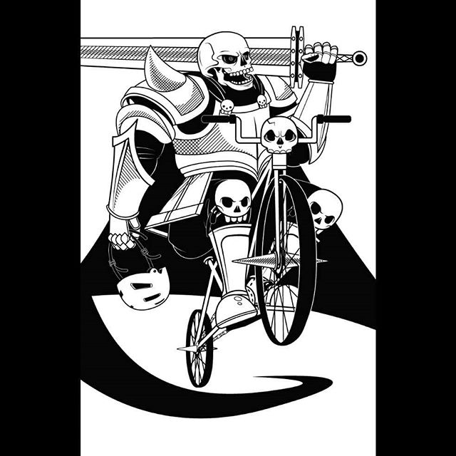 Second pinchflat concept that didn't quite make it in time. Friendly reminder that it doesn't matter how badass you look, you need a helmet to protect your skull. 💀 . #skullknight #fantasy #art #illustration #skull #blackandwhite #vector #adobeillustrator #bicycle #columbusart