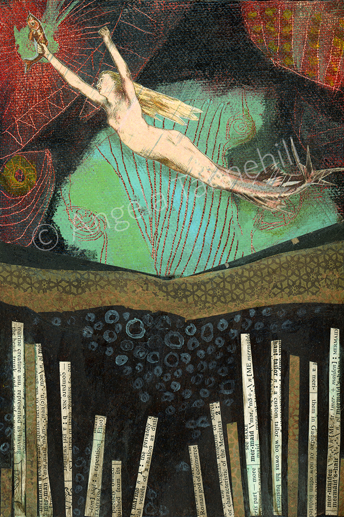 """Mermaid Ascending"" 2015   by Angela Tannehill,  5"" x 7"" collage on canvas"