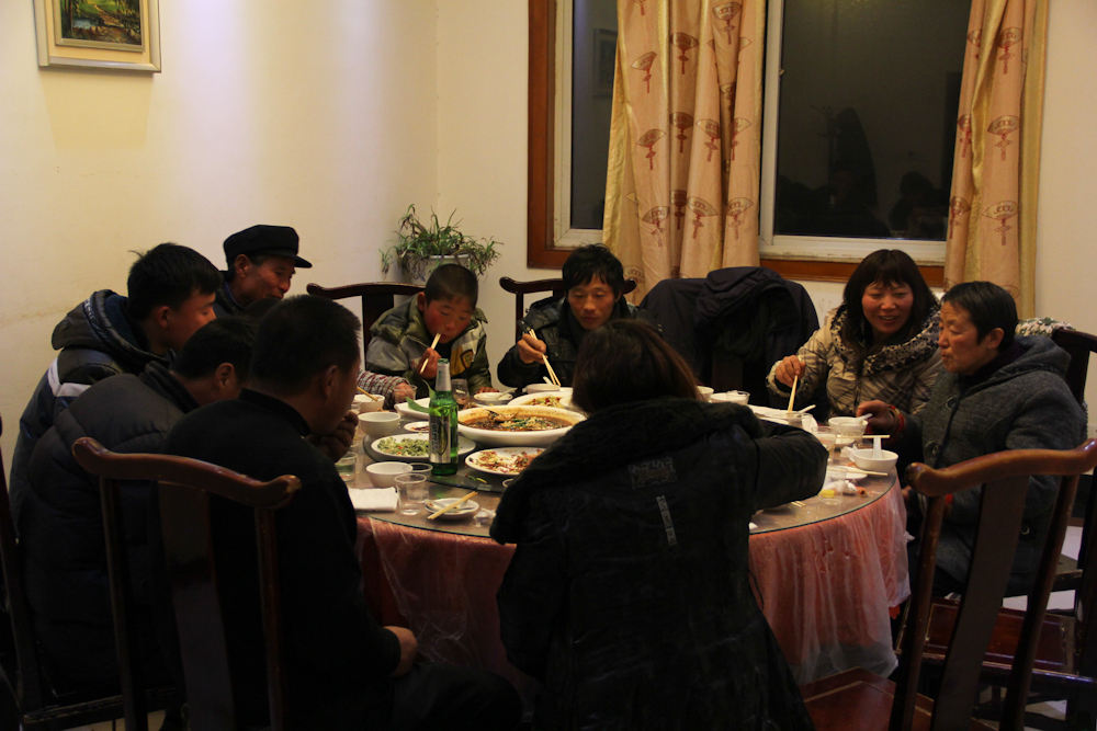 First dinner with the family back home in a restaurant in eastern Henan province, February 2013.