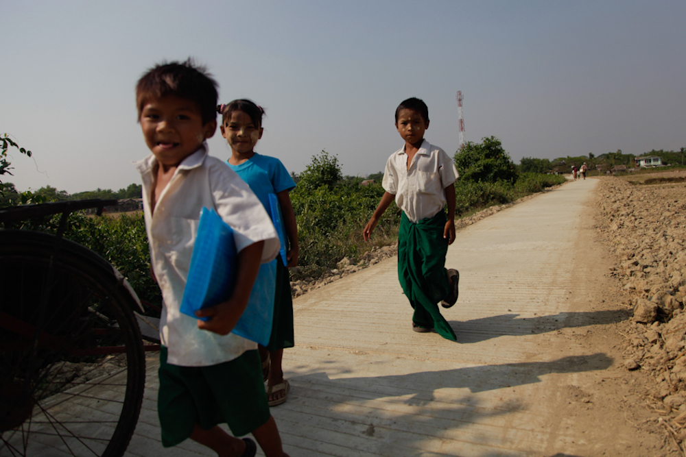 Back from school in Dala township, south of Yangon, March 2013.