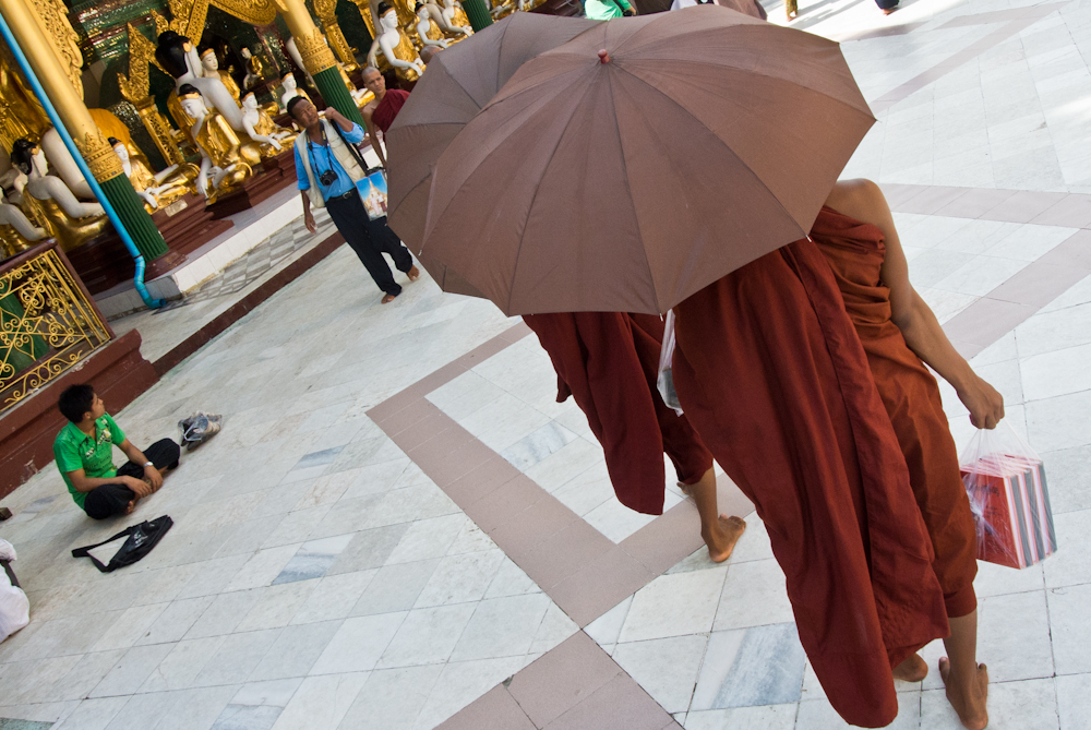 Monks inside Yangon's Shwedagon pagoda, November 2012.