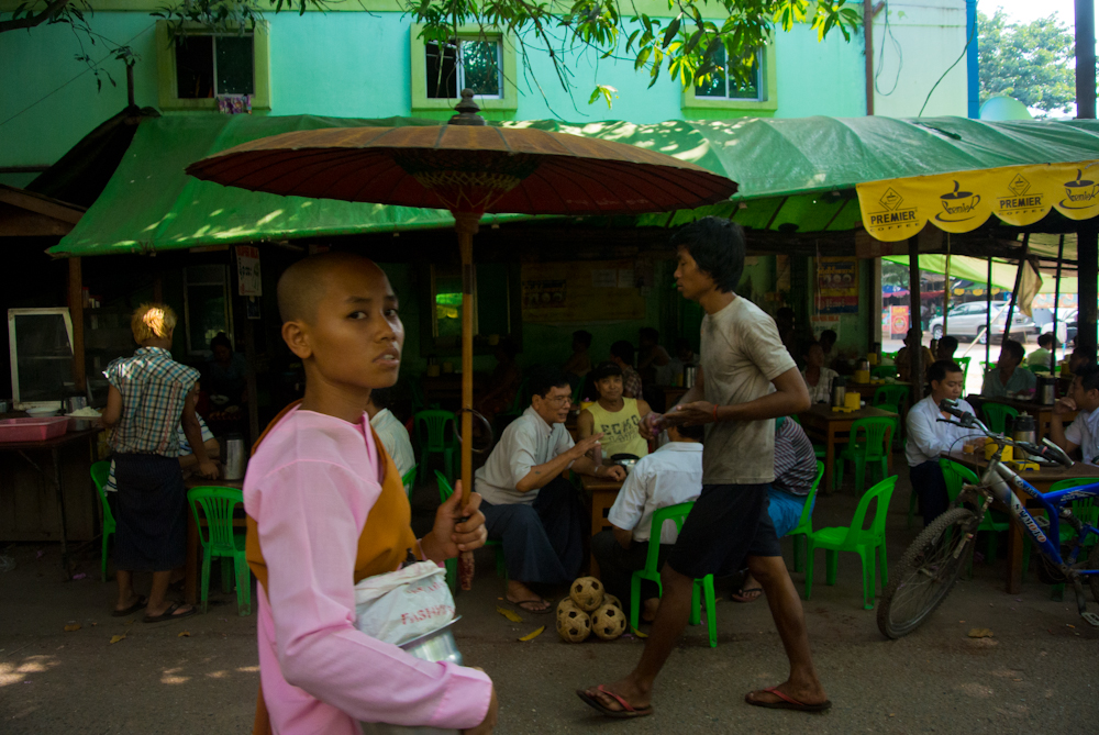 Nun in the street of Yangon, November 2012.