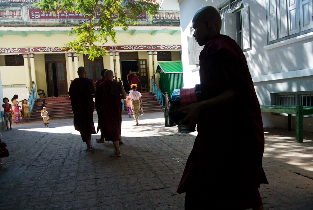 Monks getting their breakfast in Mahagandayon monastery in Mandalay, November 2012.