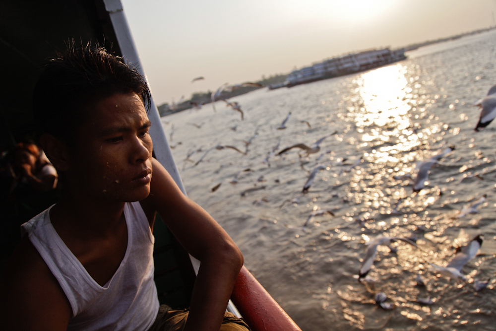 On the ferry across the Yangon river to Dala township, March 2013.