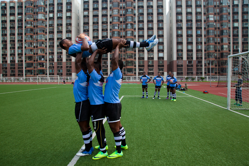 The Fiji Rugby 7s team training at the La Salle College in Hong Kong, March 2012.