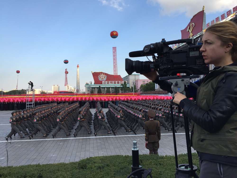 On assignment in Pyongyang, North Korea, in October 2015, to cover the military parade celebrating the 70th anniversary of the ruling Workers' Party.